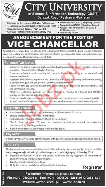City University CUSIT Jobs 2018 for Vice Chancellor