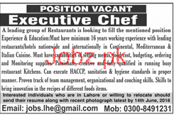 Executive Chef Job in A Leading Group of Restaurants