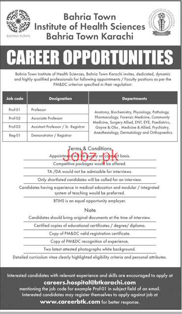 Bahria Town Institute of Health Sciences Med Teaching Jobs