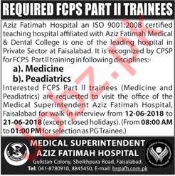 Aziz Fatimah Hospital Faisalabad Jobs 2018 for Doctors