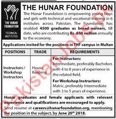 Hunar Foundation NGO Jobs Instructors