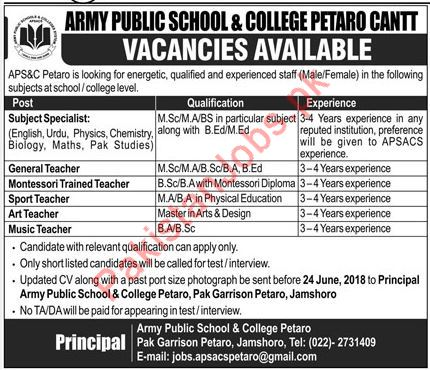 Army Public School & College Petaro Cantt Jobs 2018