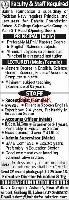 Bahria Foundation  Principal, Lecturers Jobs