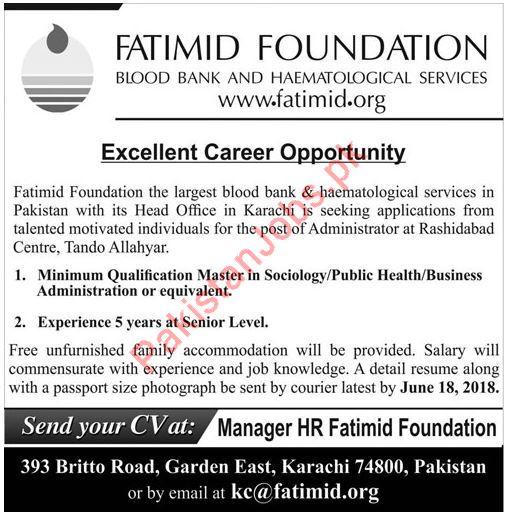 Fatimid Foundation Administrator Job 2018