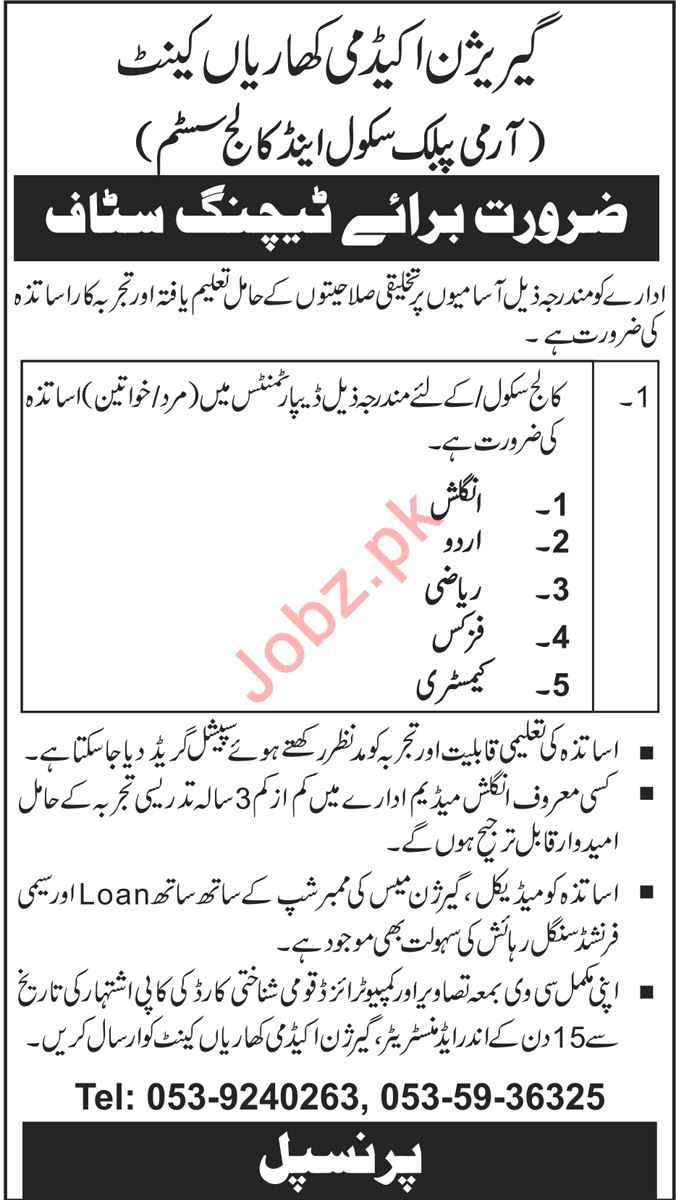 Garrison Academy Kharian Cantt Jobs 2018 for Teachers