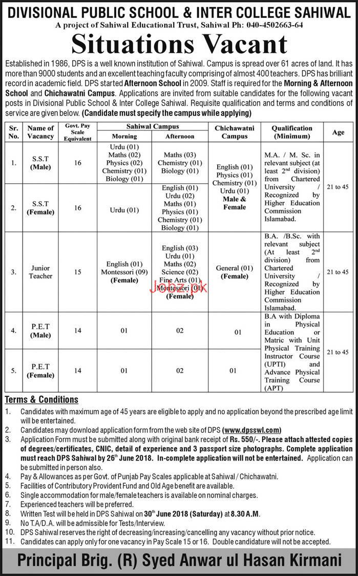 Divisional Public School and College DPS Sahiwal Jobs