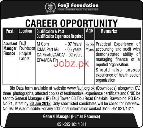 Fauji Foundation  Assistant Manager Finance Jobs
