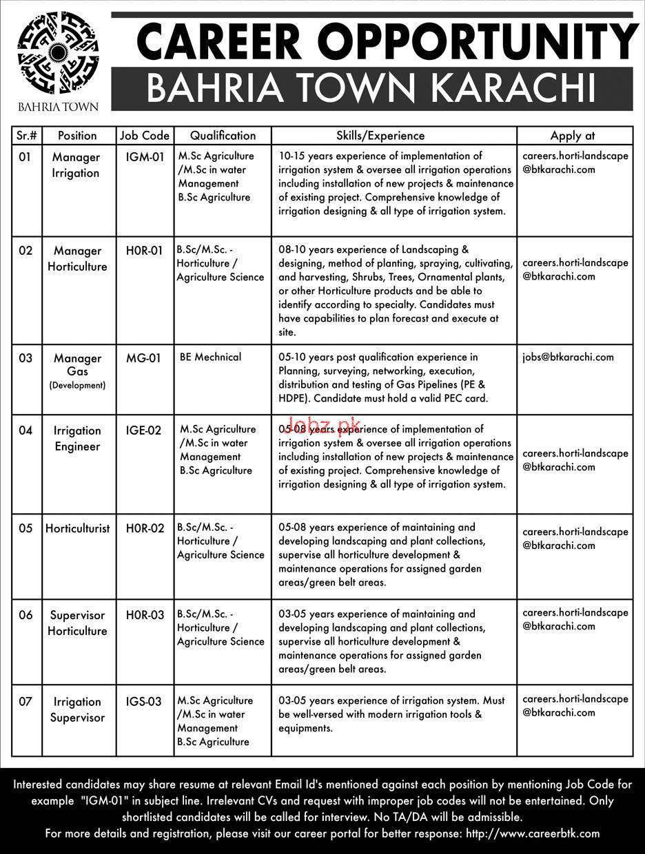 Bahria Town Karachi Manager Horticulture Jobs