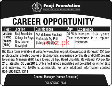 Fauji Foundation  Lecturers Islamic Studies Male Jobs