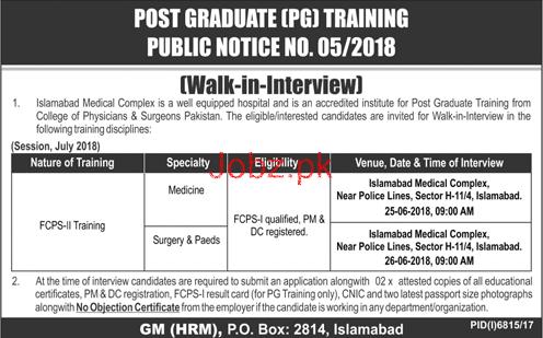 Islamabad Medical Complex FCPS-II Trainee Jobs