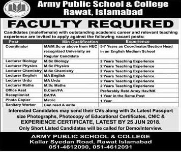 Army Public School & College APS  & C Rawat Jobs