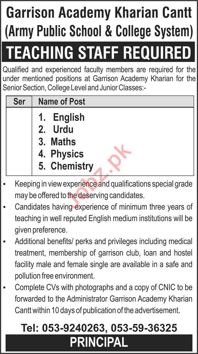 Garrison Academy Kharian Cantt APS&C Jobs 2018 Teachers
