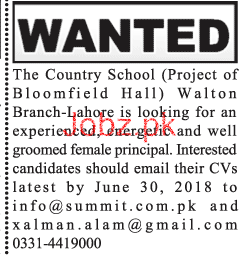 Female Principal Job in The Country School