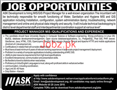 Ask Development  Project Manager MIS Jobs