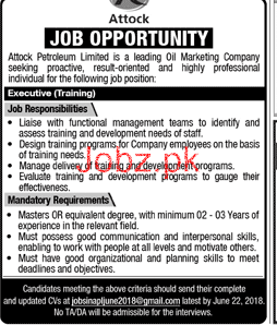Attock Petroleum Limited APL Executive Training Jobs