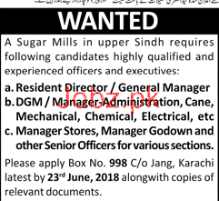 Resident Director / General Manager  Job in Sugar Mills