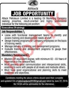 Attock Petroleum Limited APL Rawalpindi Jobs 2018 Executive
