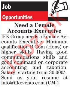 Female Accounts Executive Jobs 2018 in Lahore