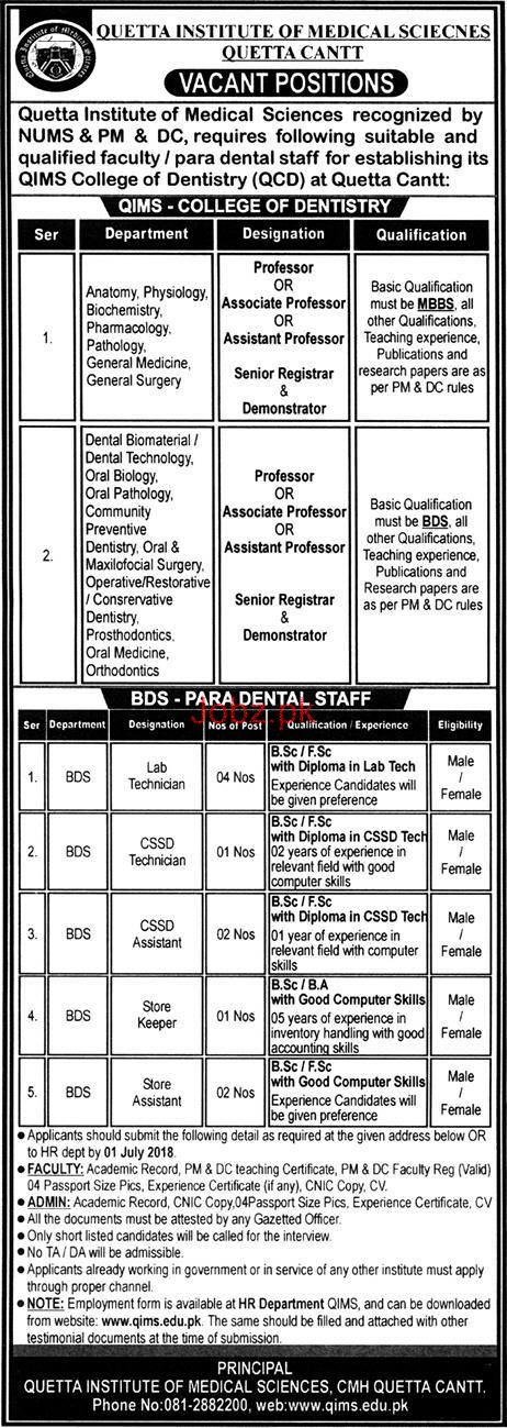 Quetta Institute of Medical Sciences QIMS Jobs