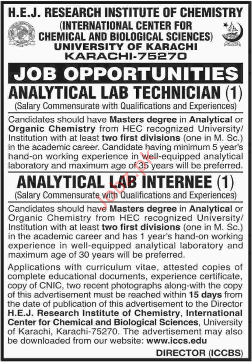 University of Karachi Job Lab Technician & Lab Internee