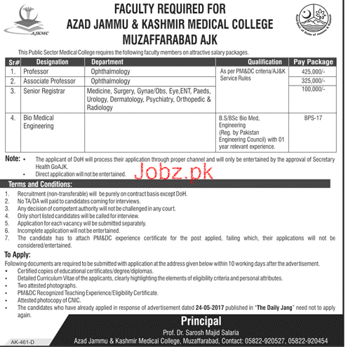 Azad Jammu & Kashmir Medical College Medical Jobs