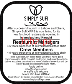 Restaurant Manager and Crew Members Job Opportunity