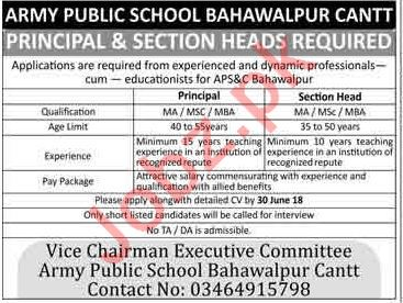 Army Public School Bahawalpur Cantt Principal & Section Head