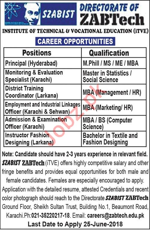 Institute of Technical & Vocational Education ITVE Jobs 2018