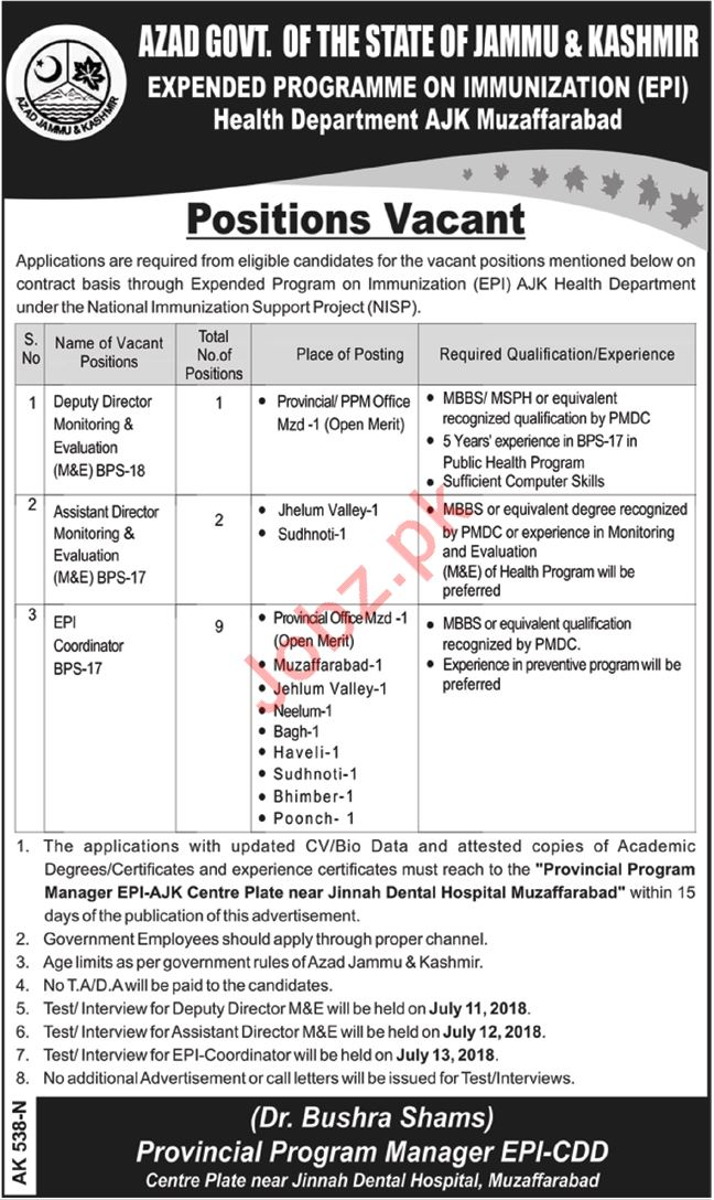 AJK Muzaffarabad Health Department Jobs 2018