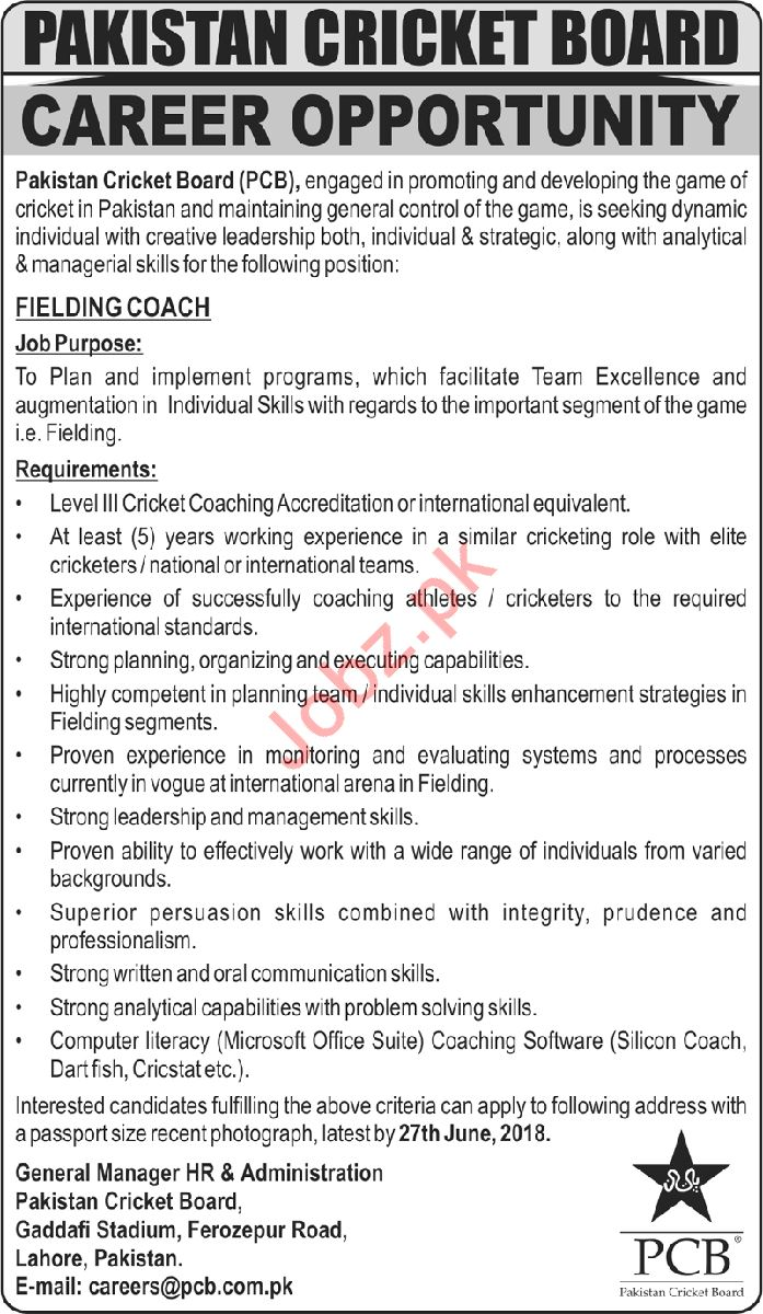 Pakistan Cricket Board PCB Fielding Coach Job 2018