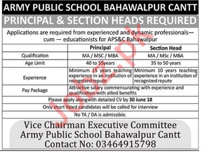 APS Bahawalpur Cantt Jobs Principal & Section Heads