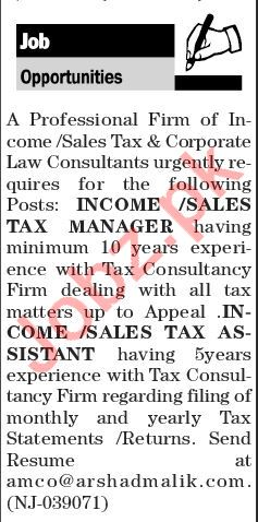 Income / Sales Tax Manager & Assistant Jobs 2018