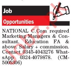 Marketing Managers & Consultant Jobs 2018 For Lahore