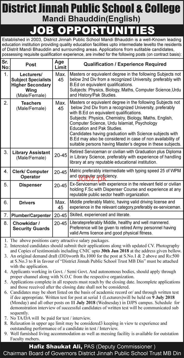 District Jinnah Public School and College Lecturers Jobs