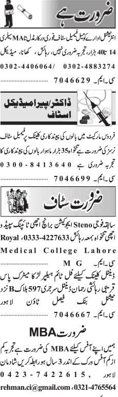 Female Nurses, Stenotypists, Helpers Job Opportunity