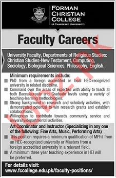 Forman Christian College Faculty Jobs 2018