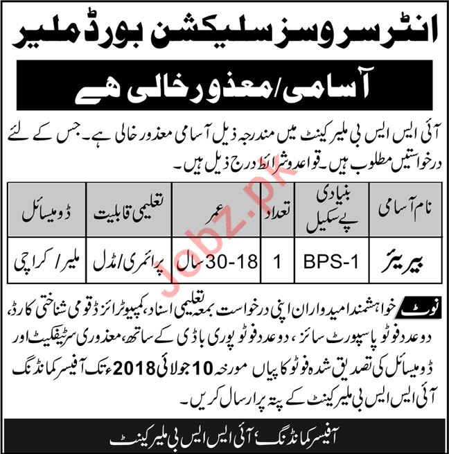 Inter Services Selection Board ISSB Malir Cantt Job 2018
