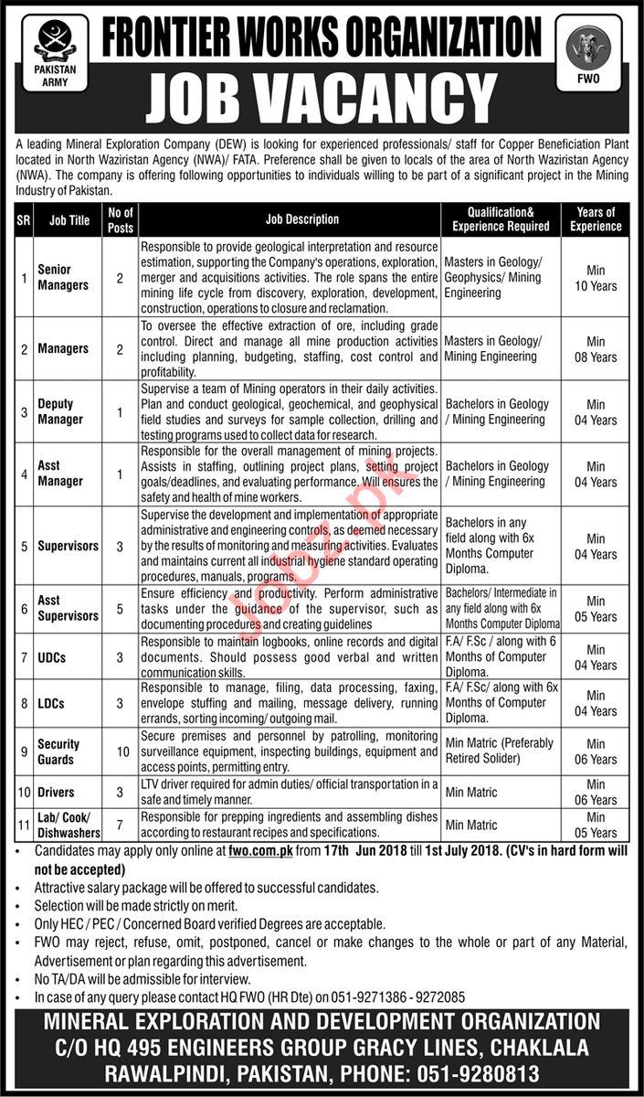 Pakistan Army Mineral Exploration Company FWO Jobs 2018