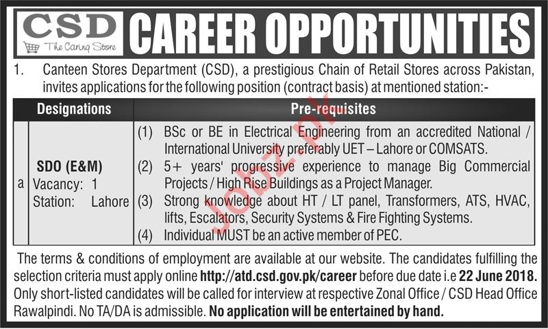 Canteen Stores Department CSD Jobs 2018 SDO in Lahore
