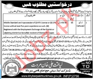 District & Session Judge Office Drivers Jobs 2018
