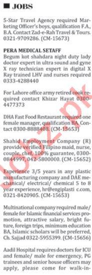 Male & Female Staff Jobs Open in Islamabad