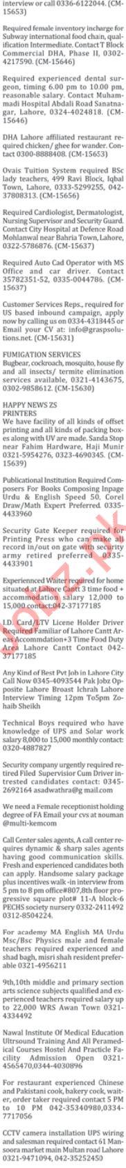 Male & Female Staff Jobs Open in Islamabad 2019 Job