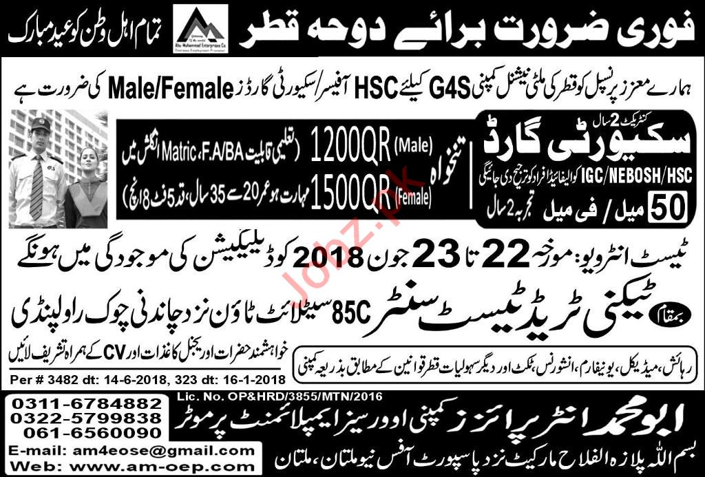 Security Guards Jobs Opportunity in Qatar 2018