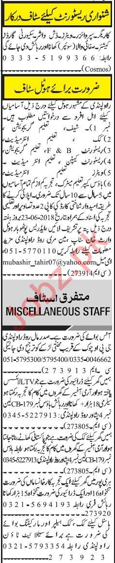 Hotel & Office Staff Jobs in Rawalpindi