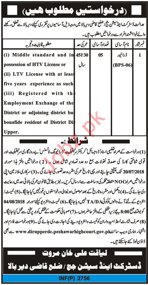 District & Session Court Upper Dir Jobs 2018 for Drivers