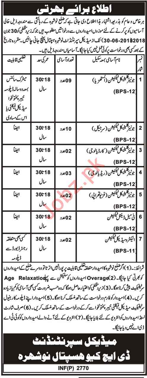 DHQ Hospital Nowshera Cantt Jobs Interview 2018