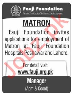 Fauji Foundation Rawalpindi Jobs 2018 for Matron