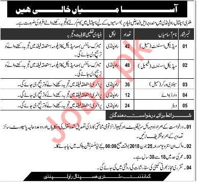 Military Hospital MH Rawalpindi Jobs 2018 for Medical Asst
