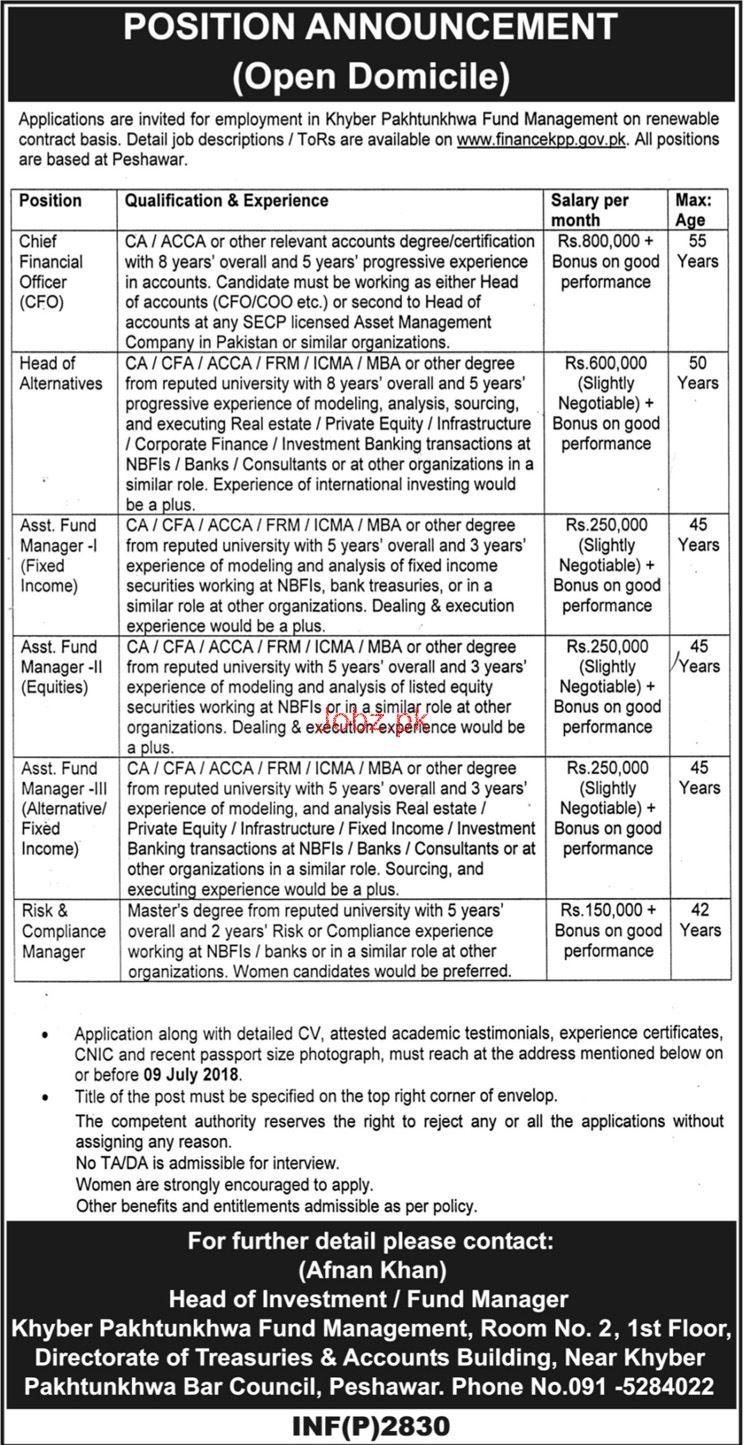 Kpk fund management chief financial officer cfo jobs 2018 jobs pakistan - Assistant compliance officer salary ...