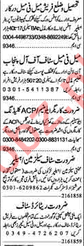 Dunya Newspaper Classified Ads 2018 in Lahore